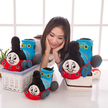 3 size 25/30/35 cm High Quality cute thomas small music train child puzzle plush toy cartoon dolls birthday gift christmas
