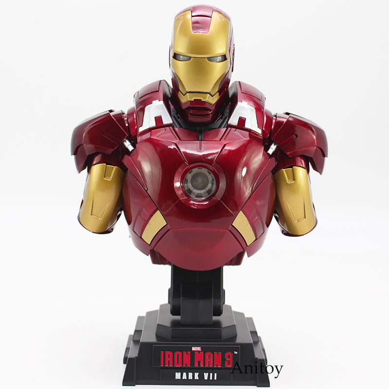 Iron Man 3 MARK VII 1/4 Scale Limited Edition Collectible Bust Figure Model Toy with LED Light 23cm superhero ironman mark xlv limited edition iron man action figure pvc doll anime collectible model toy 25cm
