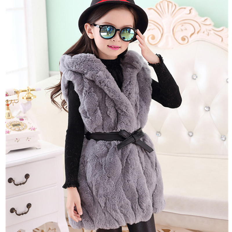Children Natural Rabbit Fur Vest Baby Girls Autumn Winter Kids Outerwear Vest Coat Fur Real Rabbit Fur Long Section Vest V#12 2016 rex rabbit fur vest girls lovely hooded rabbits short coat vest children s solid pink and white short o neck vest for baby