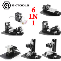 6 in 1 24W All Metal Mini Lathe,Milling,Drilling ,Wood Turning,Jag Saw and Sanding Machine,Mini Combined Machine Tool, DIY Tool
