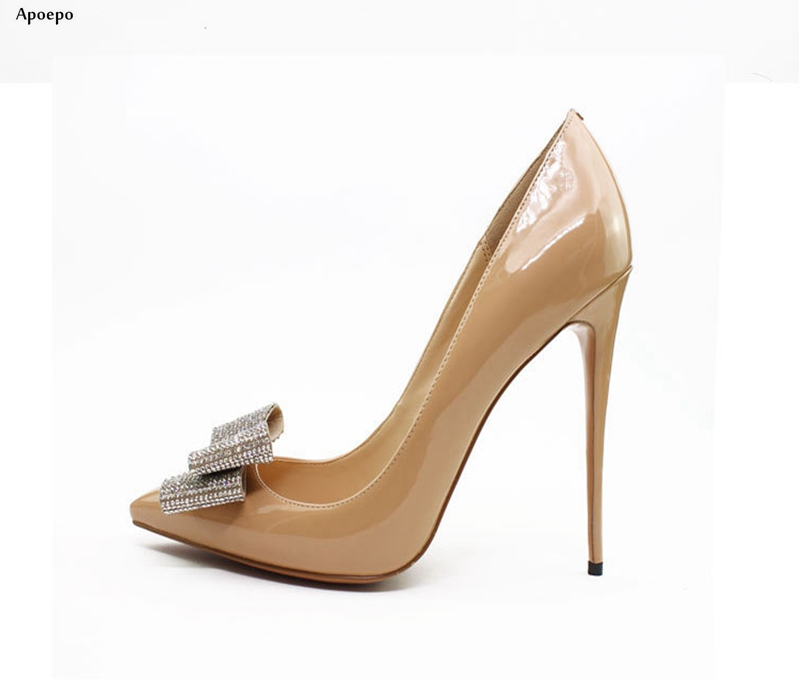 Apoepo Newest Pointed Toe Crystal Butterfly-knot High Heel Shoes 2018 Sexy 12CM Heels Woman Shoes Bowtie Wedding Heels new fashion runway bowtie high heel shoes 2017 round toe crystal embellished stiletto heels woman sexy high heel shoes