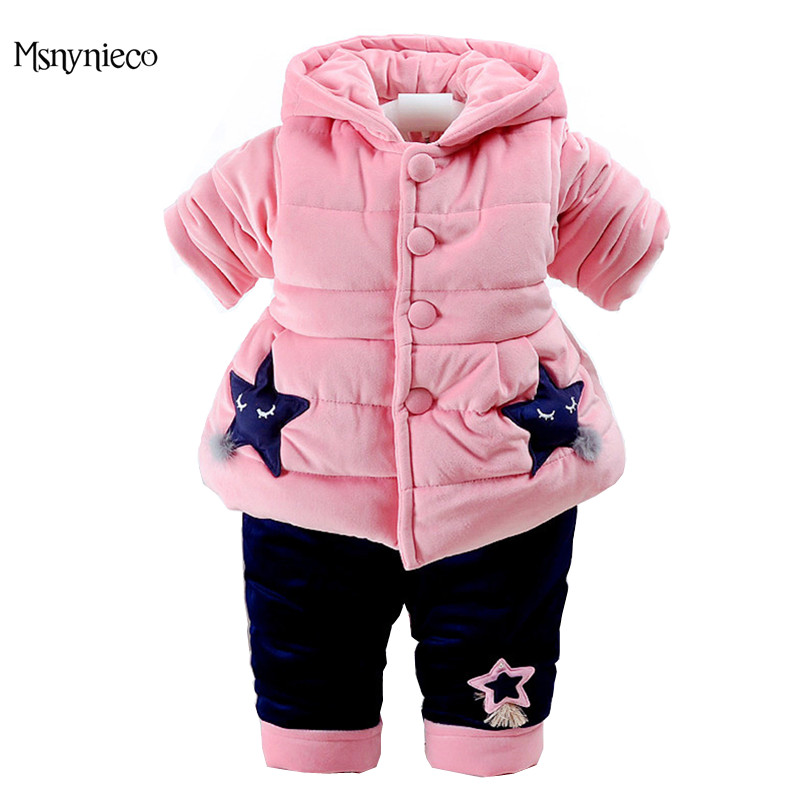 Winter Baby Girl Clothes Sets 2017 Casual Toddler Girls Warm Thicken Coat Baby Jacket+Pant Infant Clothing 2pcs Kids Suits