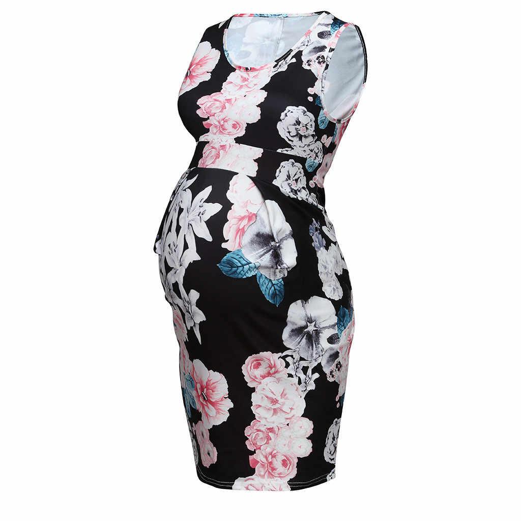 Летние для беременных мать рукавов Сексуальная печати платье без рукавов; платье для беременных # g40US