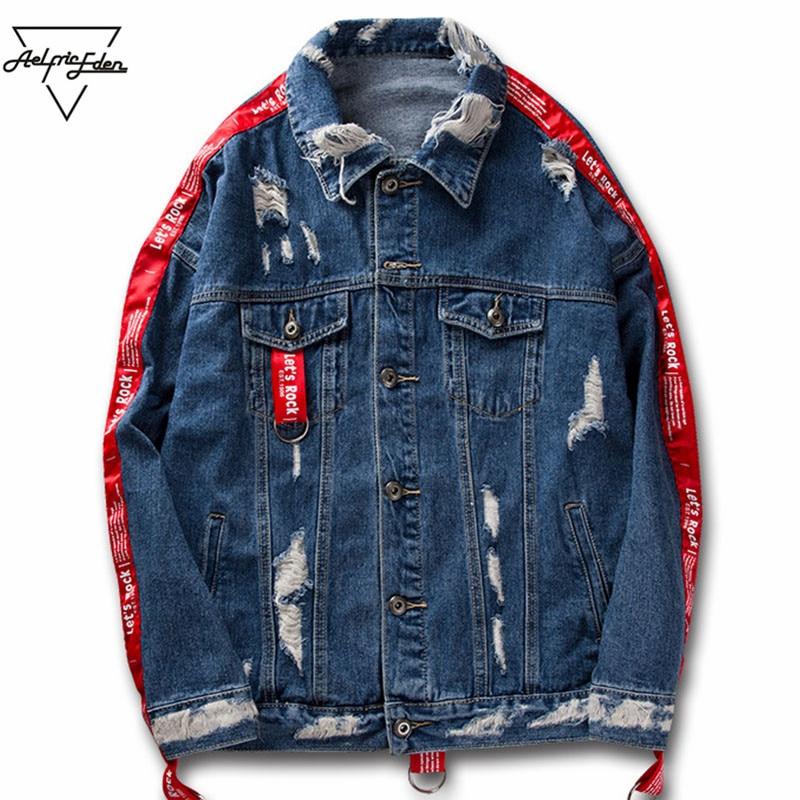 Aelfric Eden Couple Clothes Jean Jacket 2017 Men Hi-street Ribbons Sleeve Ripped Hole Hip Hop Jacket Fashion Jackets Coats KT22 набор инструмента kingtul kt22