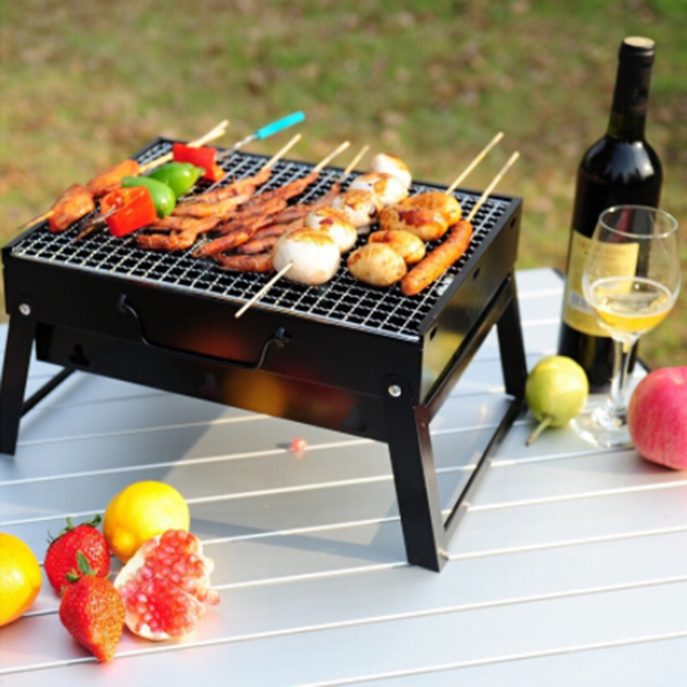 Outdoor Foldable BBQ Grill Charcoal Barbecue Barbacoa Camping Picnic Steel Churrasqueira Stove Set