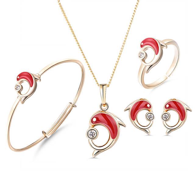 nouveau produit 9013d b363a € 14.32 25% de réduction|Ensemble de bijoux bébé couleur or cadeau enfants  ensembles de bijoux coeur enfants bijoux anneau boucle d'oreille Bracelet  ...