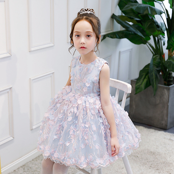 Embroidery Flower Girl Dresses Floral Ball Gown Kids Pageant Dress for Birthday Costume Sleeveless Princess Prom Dress B170