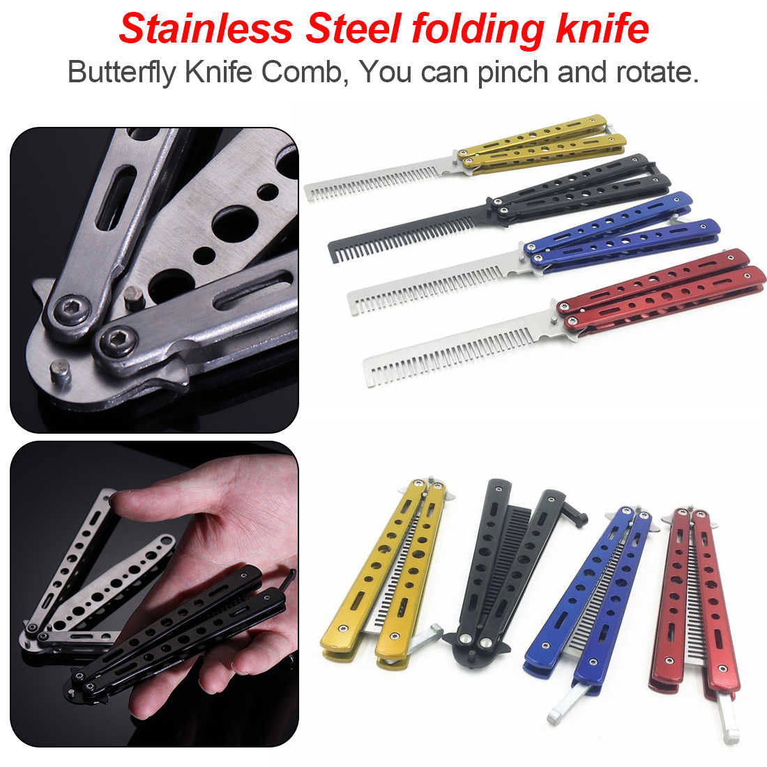 Colorful Stainless Steel Practice Butterfly In Knife Balisong Training Folding Knife Dull Tool CS Go Practice Knife Comb Tool