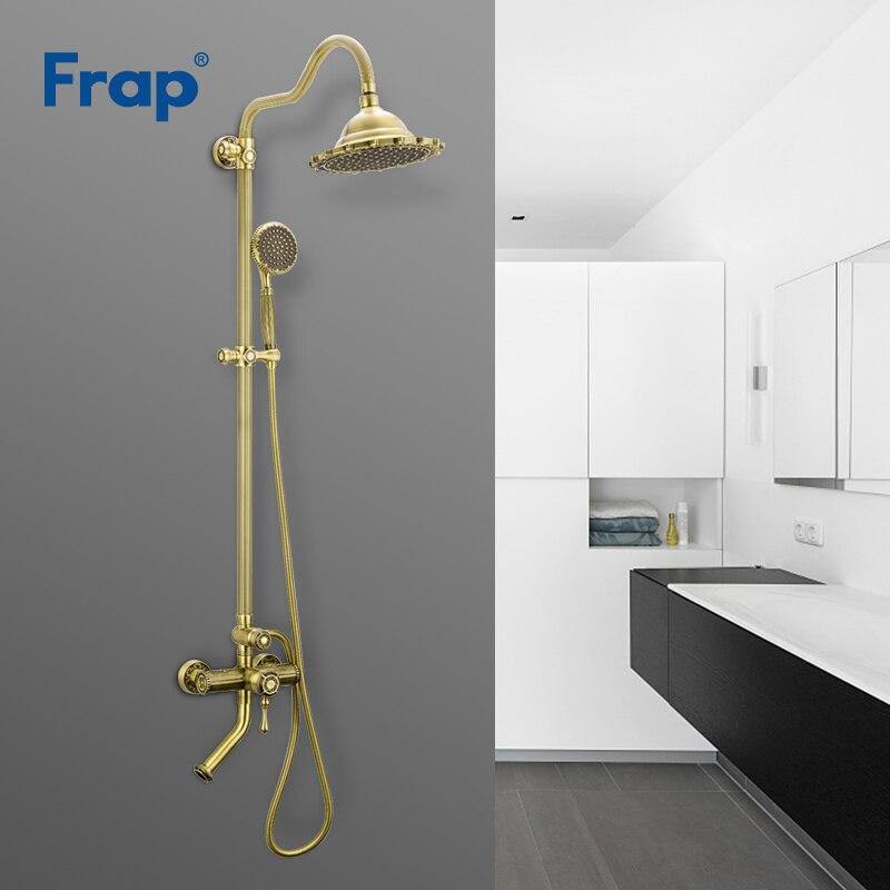 Frap Ванная комната душа Установить Бронзовый Ретро Стиль Ванна смеситель для душа нажмите Ванна Душ водопад Насадки для душа настенный смес