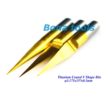 10x 3.175MM Shank 15 Angle 0.1MM Tip, Titanium Coated Carbide PCB Engraving Cutter, CNC Bit Router Tool,Milling Cutter Free Ship цены