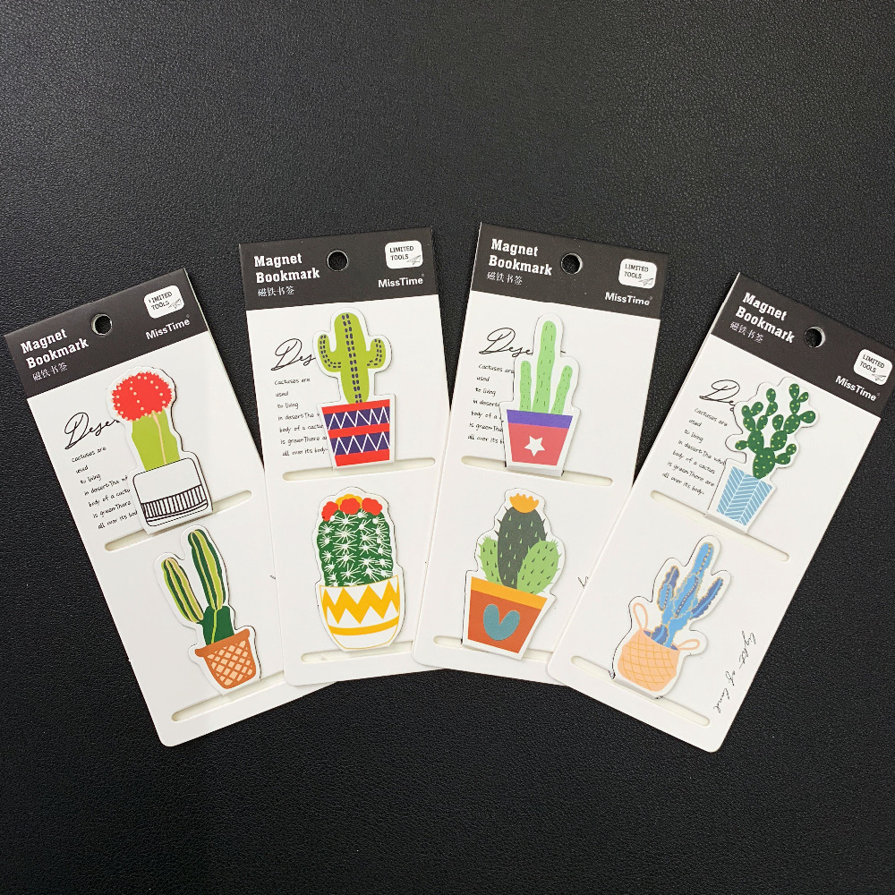 2pcs/Set Fresh Cactus Magnetic Bookmarks Books Marker Of Page Stationery School Office Supply Student Prize
