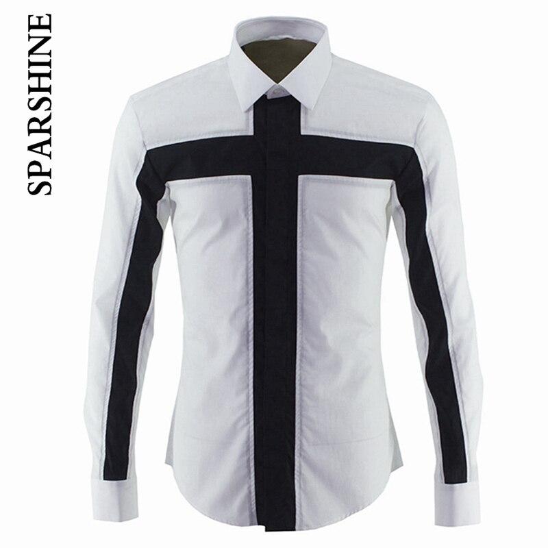 Patchwork New Black Men Shirt Long Sleeve 2016 Luxury Fashion Collar Deign Slim Fit Mens Dress Shirts Casual Brand Cotton Shirt