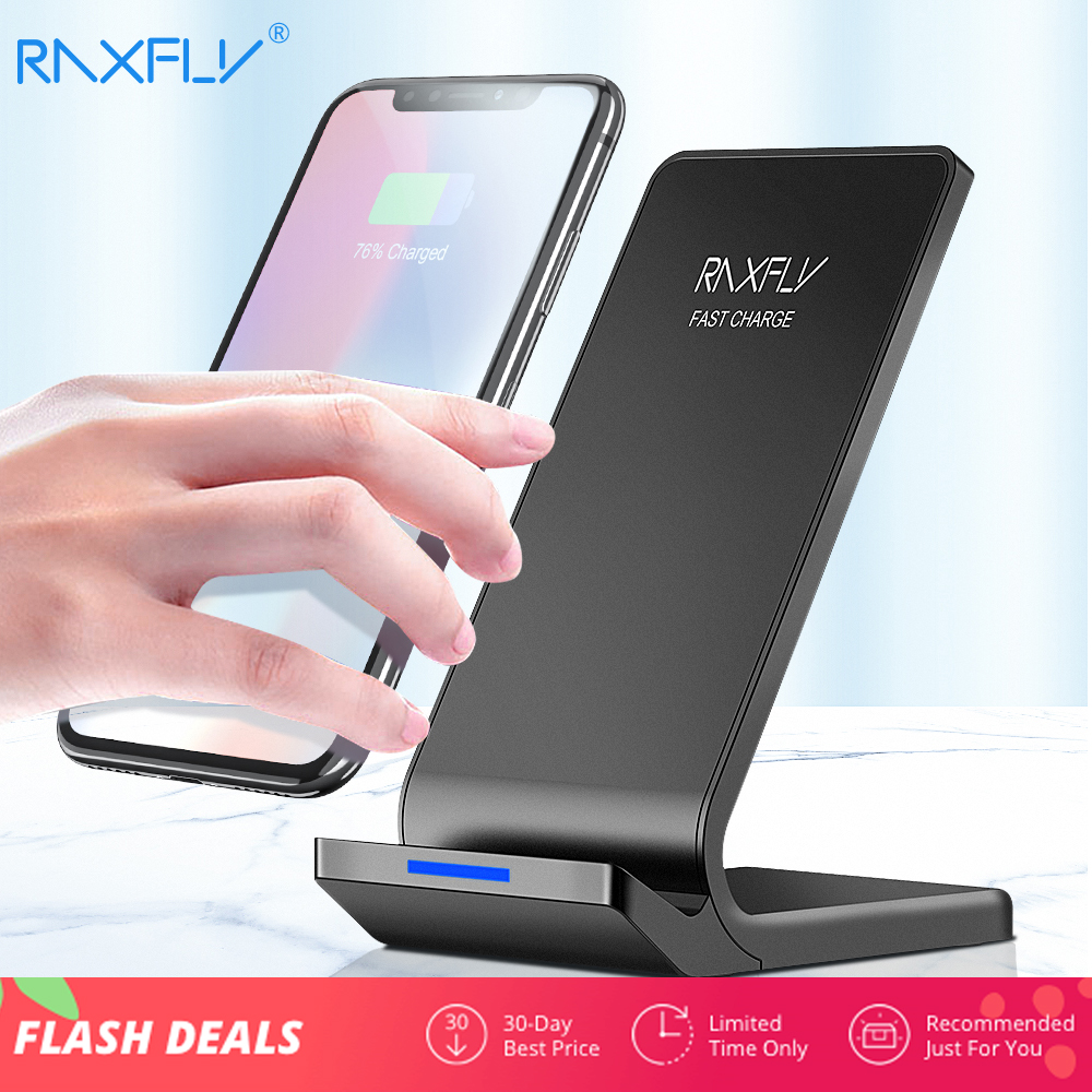 RAXFLY 10W Wireless Charger For iPhone XS Max XR X 8 Plus Fast Charging For Samsung S9 S8 Plus Note 9 8 Phone Wireless Charger Зарядное устройство