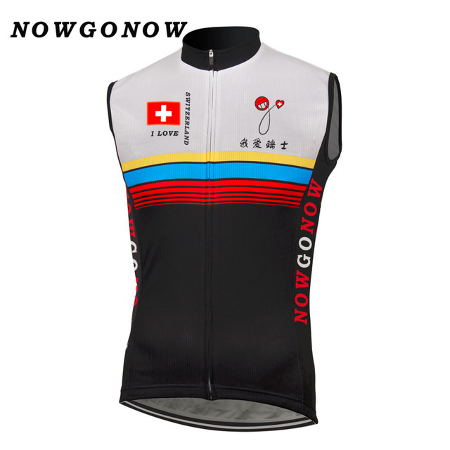 a451ed9db Men cycling vest jersey love Switzerland swiss tops sport bike vest wear  clothing Mountain road sleeveless NOWGONOW Polyester