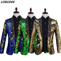 New Men Sparkly Sequins Jacket Blazers Blue Green Black Red Gold Purple Color Slim Coat Prom Wedding Outfit Singer Host Costumes