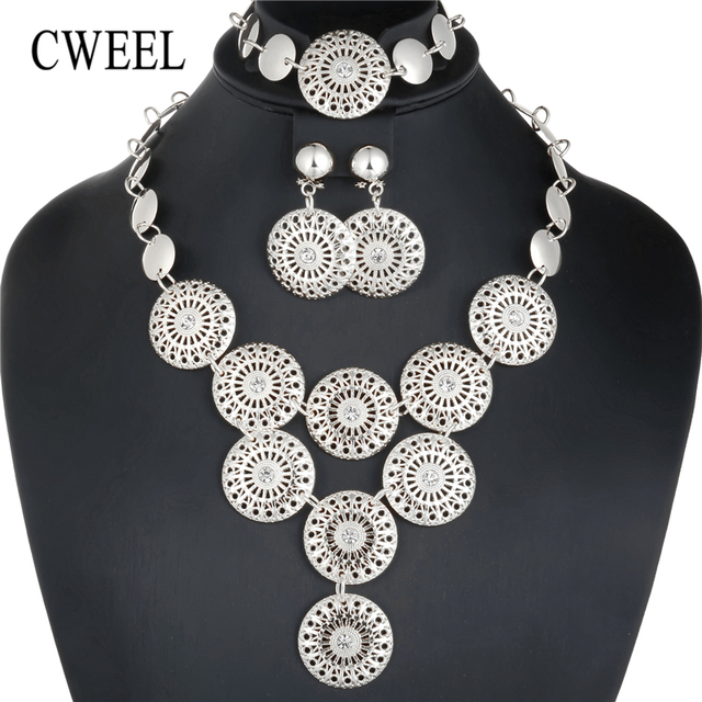 CWEEL Dubai Gold Jewelry Sets For Women Turkish Silver Color Indian Jewelry Costume Jewellery Fashion Womens  sc 1 st  AliExpress.com & CWEEL Dubai Gold Jewelry Sets For Women Turkish Silver Color Indian ...