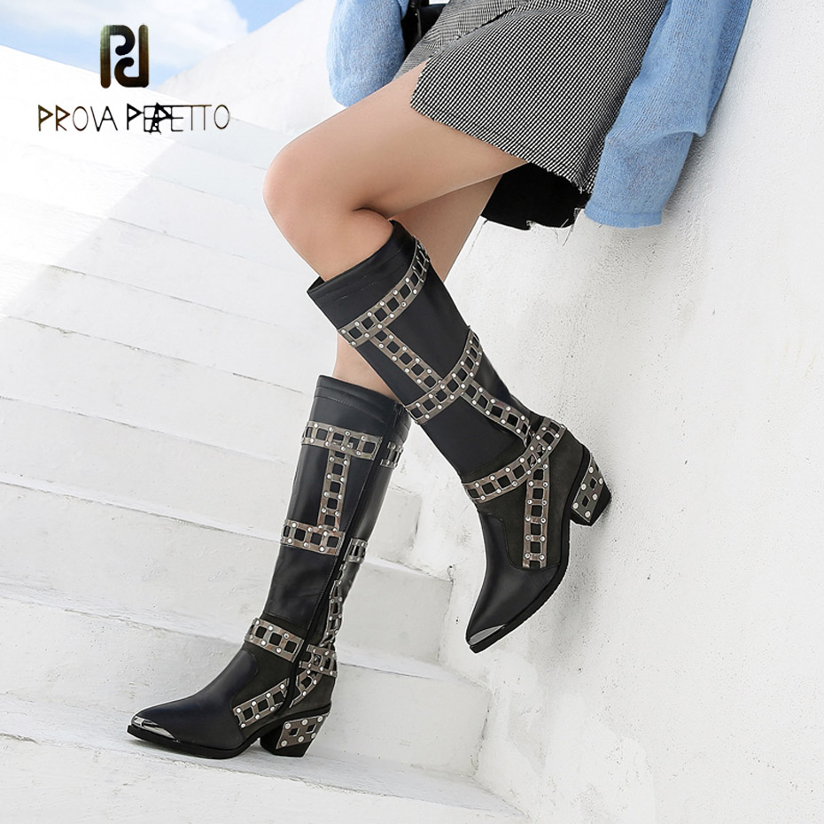 Prova Perfetto new arrival rivet decor mixed color genuine leather chelsea boots women pointed toe chunky heel knee high boots prova perfetto mixed color chunky high heel rome style women sandals rivet decoration buckle genuine leather shoes mujer zapatos