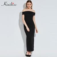 Kinikiss Women Bodycon Dress 2017 Summer Dress Black Off Shoulder Backless Wedding Party Dress Spring Sheath