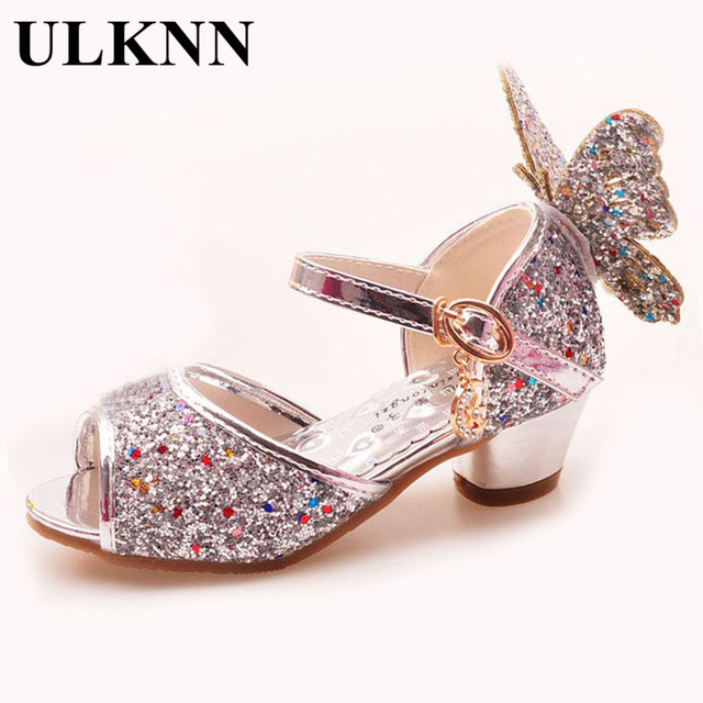 84f691764921 ULKNN Girls Sandals Rhinestone Butterfly pink Latin dance shoes 5-13 years  old 6 children 7 summer high Heel Princess shoes kids