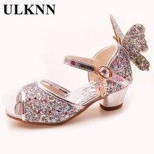 ULKNN الفتيات الصنادل حجر الراين فراشة الوردي اللاتينية الرقص أحذية 5 13 سنة 6 الأطفال 7 الصيف عالية الكعب الأميرة أحذية الاطفال