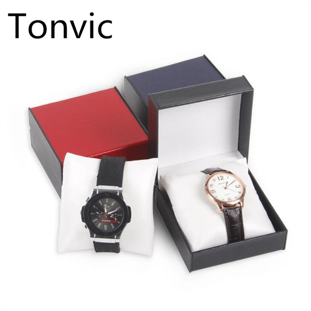 Tonvic Wholesale leasther Watch Display box Slot Case Jewelry