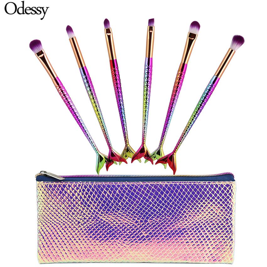 ODESSY New 6Pcs Mermaid Eyes Makeup Brushes Fishtail Eyeshadow Eyebrow Lip Blusher Cosmetic Make Up Brush Set Mermaid Makeup Bag защита задняя центральная 60 3 мм тсс mitpaj413 08 для mitsubishi pajero iv 2006