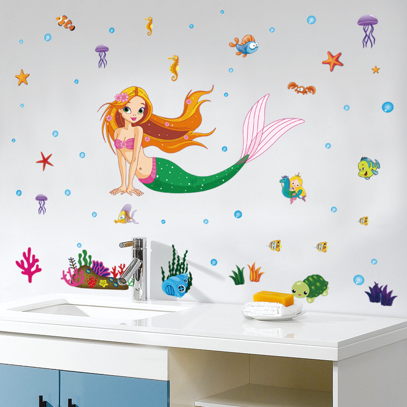 Cartoon Underwater Mermaid Fish Bubble Wall Stickers For Kids Rooms Wall Decal Mural Poster Art Girls Bedroom Home Decor 50 70cm in Wall Stickers from Home Garden