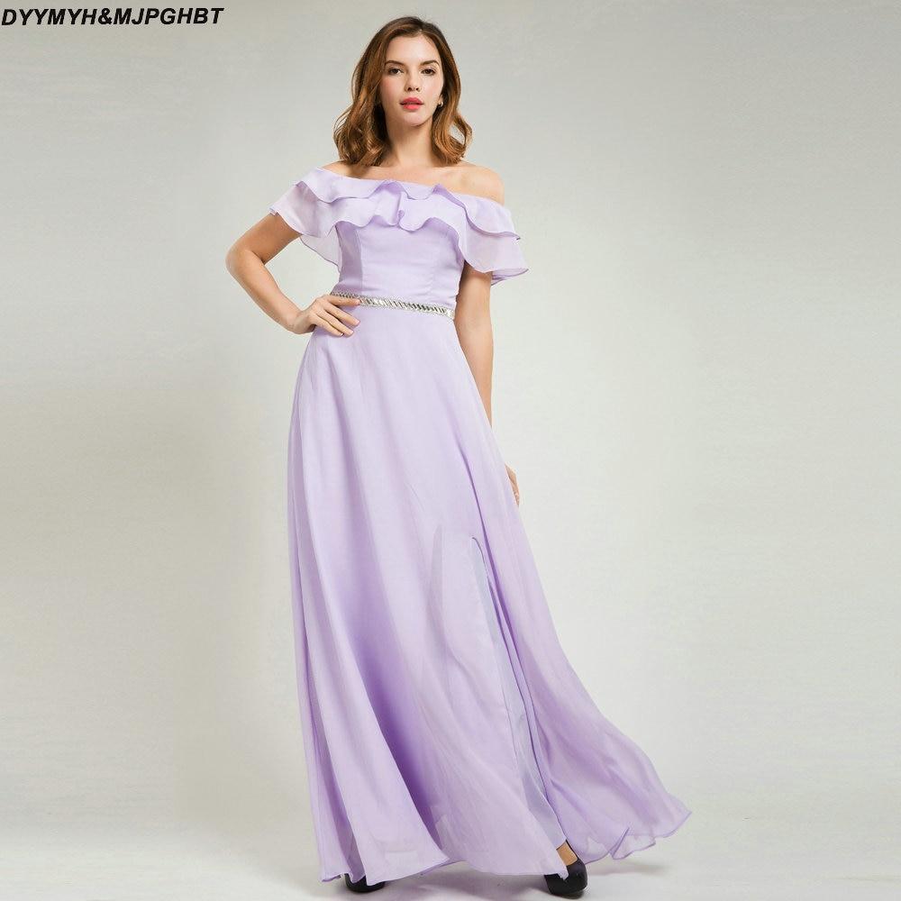 Lavender Long Beach Bridesmaid Dresses Off Shoulder Ruffles Zipper ...