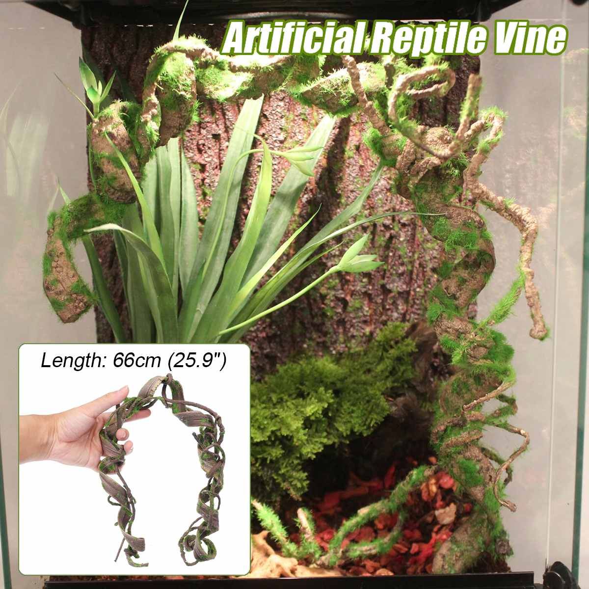 66cm Reptiles Vine Climber Jungle Forest Bendable Artificial Branch Terrarium Cage Decor Flexible Reptile Pet Supplies image