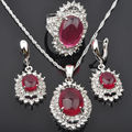 Charming Red Stone Cubic Zircon For Women 925 Sterling Silver Jewelry Sets Earrings/Pendant/Necklace/Rings  Free Shipping JS043