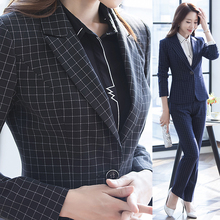 Women's 2017 Elegant Pants Suits Work Wear Formal Slim Plaid Long-sleeve Business Blazer And Trousers Office Ladies Blazer Set