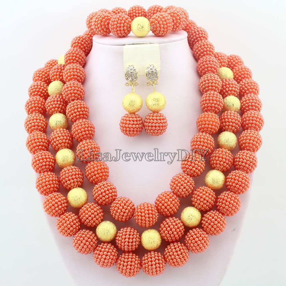 2017 Latest african beads necklace set nigerian wedding african ...