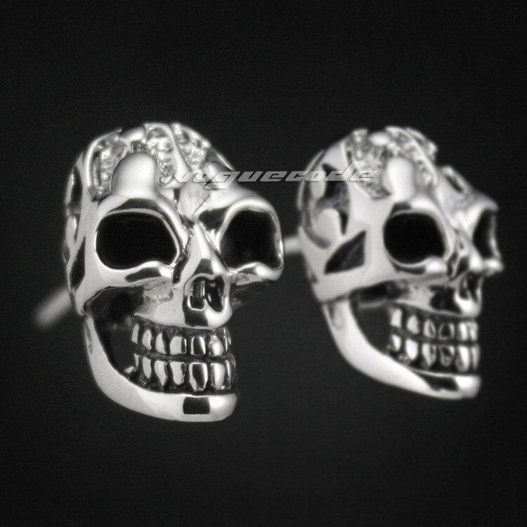 925 Sterling Silver Smille Skull Mens Biker Rocker Stud Earring 8M005_#pair