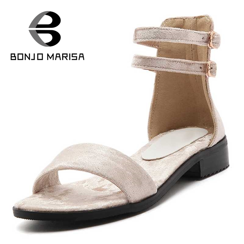 ФОТО BONJOMARISA Ankle Strap Summer Ladies Footwear Flat With Open Toe Platform Sandals For Woman Big Size 34-43 Beach Shoes