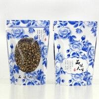 Mavi Çiçekler 100 Adet/grup Kilitli Stand Up Çanta Temizle Ambalaj Çanta Pencere ile Öz Seal Plastik Gıda Kavrama Çanta Perakende Paketi çanta