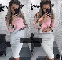 Pullover Knitted Suit Women Slim Knitted Sweater Two Pieces Set Long Sleeved Petal neck Lotus Leaf Skirt Suits