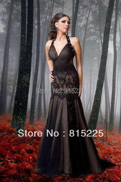 Sexy Ravishing Mermaid Prom Dress Gown Evening Party Dress Halter Satin Tulle Fabric Court Train Applique Sequin Halter V-Neck