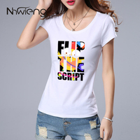 White Fashion Korean Cute Unique Camiseta Women Blouse T Short Sleeve Letter Flip Bird Cartoon Print