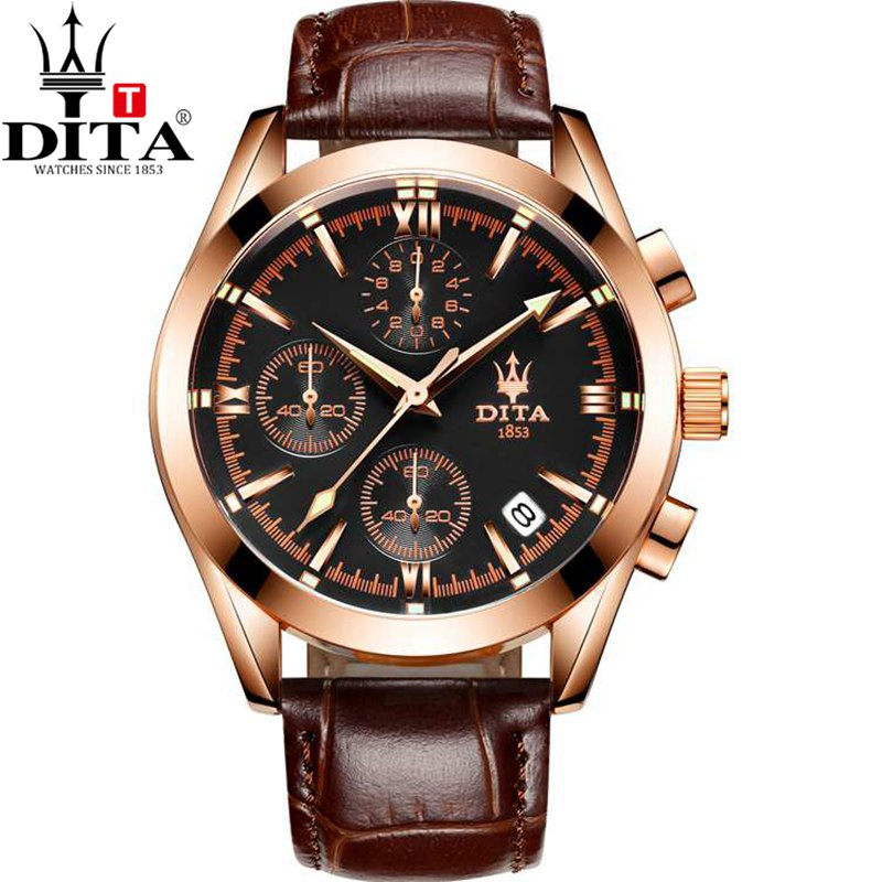 DITA Chronograph Date analog Men s Watch 3 Workable Quartz Sport Military geniune leather strap bracelectrelogio