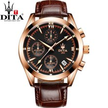 DITA Chronograph Date analog Men's Watch 3 Workable Quartz Sport Military geniune leather strap bracelectrelogio masculino