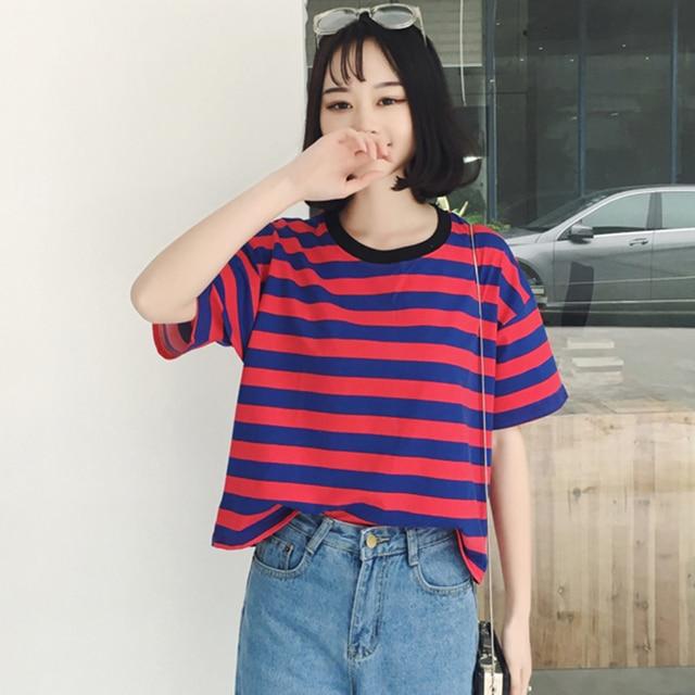 73f0e0e5452e Fashion Womens Shirts Tops 2018 Summer Clothing Korean Ulzzang Harajuku  Striped Short Sleeve T-shirt