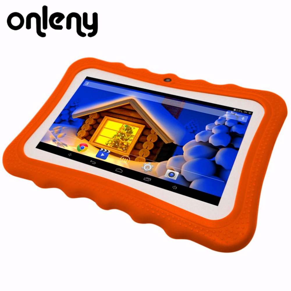 Onleny 7 inch Q7 A33 Quad Core 512MB+4GB Android 4.4 Kids Tablet PC with Bluetooth 1024x600 Dual Camera with Silicone Case цены онлайн