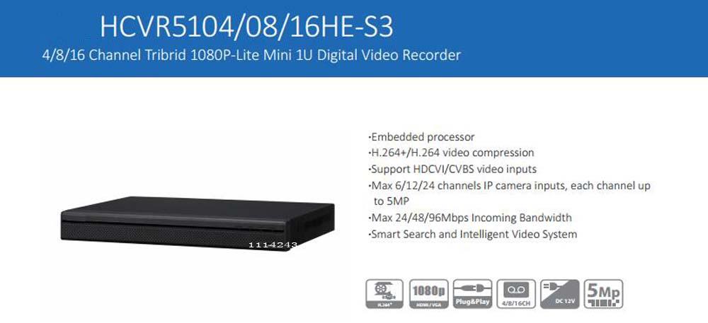 DAHUA 4/8/16 Channel Tribrid 1080P-Lite Mini 1U Digital Video Recorder without Logo HCVR5104HE-S3/HCVR5108HE-S3/HCVR5116HE-S3 solidsteel s3 4 black