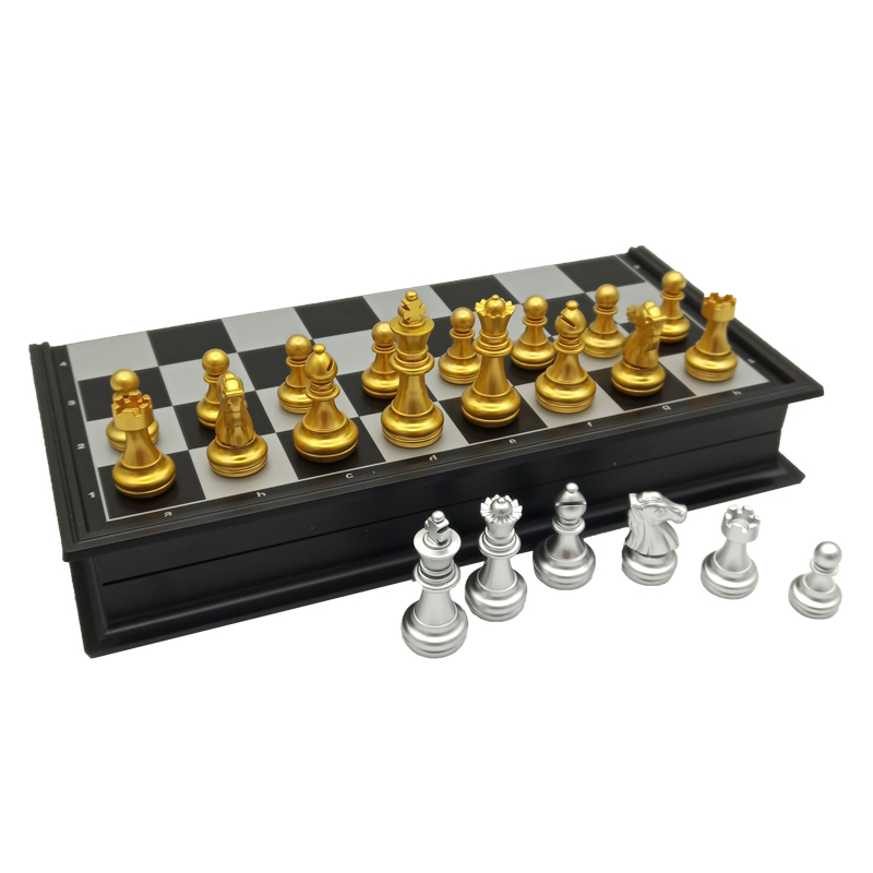 Yernea High-quality Magnetic Chess Game Set New Folding Chessboard Plastic Magnetic Chess Pieces Gold and Silver Color Pieces 5