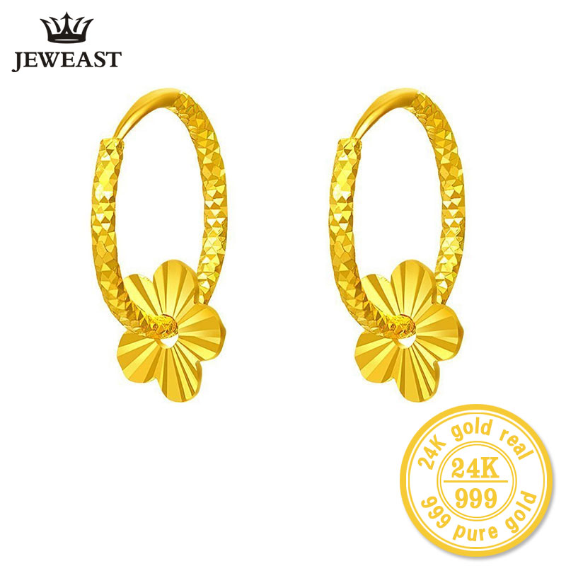 ZZZ 24k Pure Gold Hoop Earrings Flaky Plum Sweet Elegant And Fashion Women Classic Girl Gift 2017 New Hot Selling Real Solid цена
