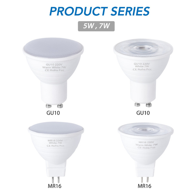 CanLing GU10 LED 220V 스포트 라이트 전구 옥수수 램프 MR16 자리 전구 LED gu5.3 SMD2835 Bombillas led 240v Ampoule 5W 7W Lampada