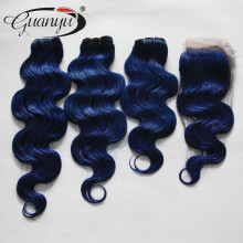 2015 New Xmas Super Deals Brazilian Human Hair Dark Blue 3 or 4 pcs/lot get a free closure to match your bundles