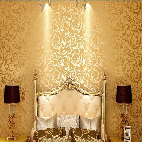 Popular gold foil fabric buy cheap gold foil fabric lots for Gold wallpaper living room