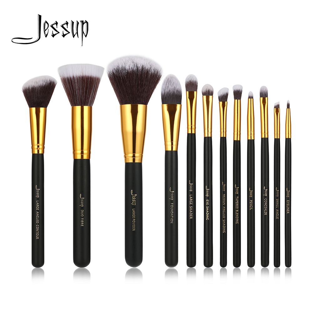Jessup Brand 12pcs Black/Gold Professional Makeup Brushes brush set Beauty Make Up Cosmetics Eyeshadow Foundation blusher Tools new jessup brand 5pcs black silver professional makeup brushes set cosmetics tools beauty make up brush foundation blush powder