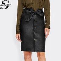 Sheinsideネクタイ弓ベルトウエストボタンアップフェイクレザーpuスカート2017黒膝丈エレガントなペンシルスカート女性ミディスカート